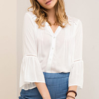 Bell Sleeve Off White Button Down Blouse