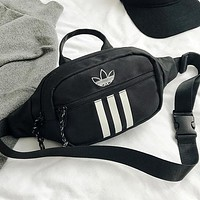 Adidas New fashion leaf print waist bag shoulder bag crossbody bag Black