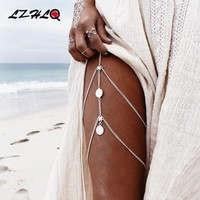 DCCKL3Z LZHLQ Vintage Multilayer Coin Leg Chain 2017 Fashion Brand Body Jewelry Geometric Metal Women Summer Beach Tassel Thigh Chains