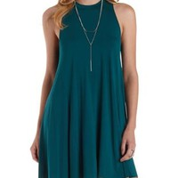 Forest Green Sleeveless Trapeze Tank Dress by Charlotte Russe
