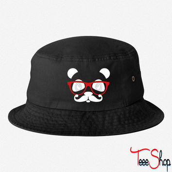 nerd panda with moustache and glasses bucket hat