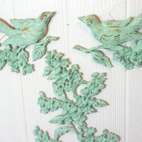 Upcycled Wall Hanging SYROCO Dogwood Branch Birds Vintage Mint