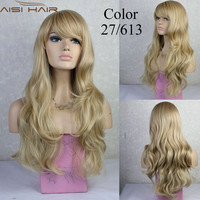 NEW Heat Resistant Long Wavy Blonde mix Ladies Wigs WIWIGS #27/613 african american curly wigs free shipping