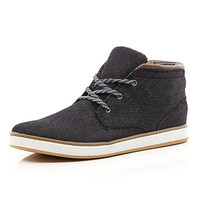 River Island MensBlack denim lace up mid top boots