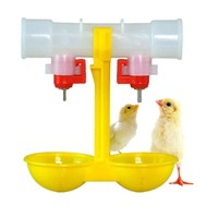 Automatic Poultry Feed Water Bird Coop Chicken Fowl Double 2-Head Drinker Cup G01573