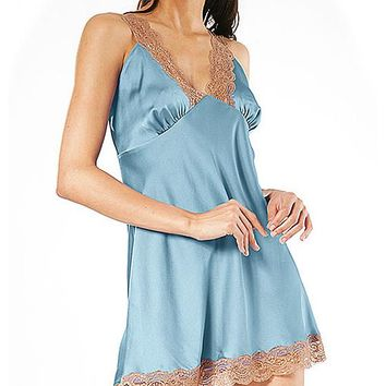 Satin Charmeuse Chemise w/Mocha Lace Trim (Robe available) (Small-3X)