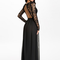 Black Floral Lace Long Sleeve Backless Maxi Dress