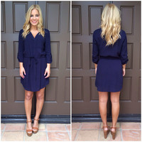 Drawstring 3/4 Sleeve Dress - NAVY