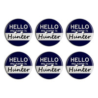 Hunter Hello My Name Is Plastic Resin Button Set of 6