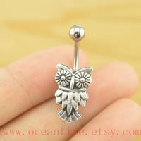 Belly Button Rings,cute owl Navel Jewelry,owl bellybutton jewelry, friendship belly rings,owl bellyring,oceantime