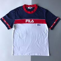 FILA ancient bridge embroidery embroidery color short sleeves for men and women F-AA-XDD