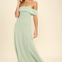 Perfectly Poised Sage Green Off-the-Shoulder Maxi Dress