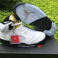 Black Metallic Top Quality Air Jordan Retro 5 V Black Metallic OG GOLD MEDAL OLYMPIC Basketball Shoes