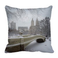 Winter - Central Park - New York City Pillow