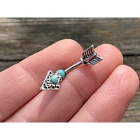 Short Belly Ring Turquoise Arrowhead