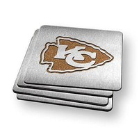 Kansas City Chiefs NFL Stainless Steel Sportula Boasters - Set of 4 Coasters