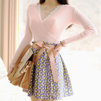 Pink V-Neck Sweater with Plaid Skirt