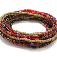 Seed bead wrap stretch bracelets, stacking, beaded, boho anklet, bohemian, stretchy stackable multi strand, brown khaki red iris