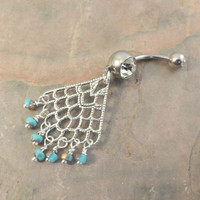 Silver Dangle Belly Button Jewelry Turquoise ang Gold Beaded Belly Button Ring