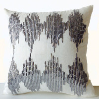 Silver Grey Decorative Throw Pillow Cover- Metallic Silver Sequin Intricate Embroidery Ikat Pattern -Neutral Home Decor -Housewarming -Gift