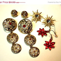 60% Blow out Reds and Golds Holiday Fashion 4 Pair Pierced  Earring Lot