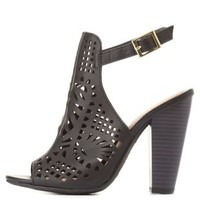 Bamboo Laser Cut-Out Slingback Heels by Charlotte Russe