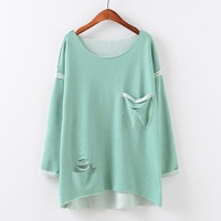 Round-neck Pullover Ripped Holes With Pocket Hoodies [9101518023]