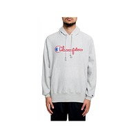 Champion Men's Reverse Chenille Logo Light Gray Hoodie