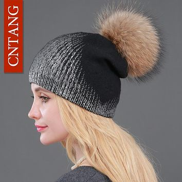 2017 New Winter Beanies Ladies Knitted Wool Warm Hats Fashion Pom Pon Real Raccoon Fur Caps Skullies Hat For Women Print Fur Cap