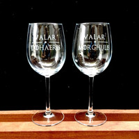 Elegant Wine Glass Set of 2 with Game of Thrones Quotes, VALAR, Hand Etched