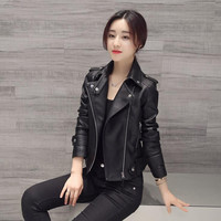 Faux Leather Slim Zipper Black Motorcycle Jacket