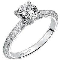 "Artcarved ""Imani"" Knife Edge Engraved Solitaire Diamond Engagement Ring"