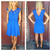 Royal Blue Cut out Carley Dress with Pockets
