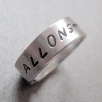 Doctor Who Inspired Skinny Ring - Allons-y- Hand Stamped Aluminum Wraparound Ring
