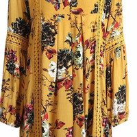 Yellow Floral Print Lantern Sleeve Summer Short Dress