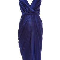 Monique Lhuillier Embroidered Silk Charmeuse Dress Royal Blue