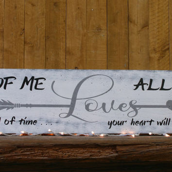 Wood Sign All Of Me Loves All Of You Distressed Wood Sign Farmhouse Chic Shabby Chic Master Bedroom Decor Wedding Anniversary Handpainted