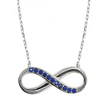 """Sterling Silver Blue Zirconia Infinity Pendant Necklace 16"""" + 2"""" Extender"""