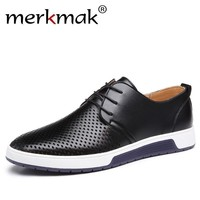 Merkmak New 2017 Men Casual Shoes Leather Summer Breathable Holes Luxury Brand Flat Shoes for Men Drop Shipping