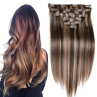 Human Hair Clip In Extensions  Brazilian Clip In ins Brown Blonde Full Head Clip in