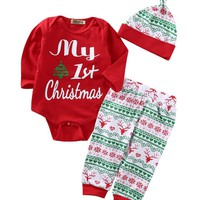 Spring Autumn Newborn Baby Girls First Christmas Clothes Romper +Pants Hat Outfits 3PCS Xmas Clothing