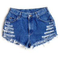 Plus Size High Waisted Jean Shorts - Side Shred