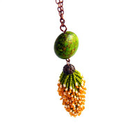 Beaded tail, minimalist beadwork necklace, fall trend, unique, elegant, green-brown colors