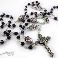 Purple Jade Unbreakable Rosary, purple rosary, communion gift, confirmation rosary, catholic rosaries, violet rosary, ladies rosary necklace