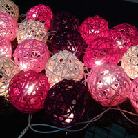 20x Pink Tone Rattan ball fairy string light for home decoration