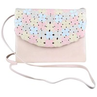 Andrea Pfister Pale Pink Leather Clutch Shoulder Bag With Pastel Blossoms, 1980s