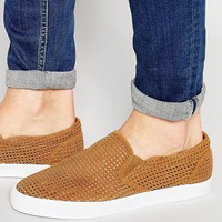 ASOS | ASOS Slip On Sneakers In Tan Perforated Faux Suede at ASOS