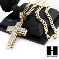 MENS LARGE CROSS PENDANT & DIAMOND CUT CUBAN LINK CHAIN NECKLACE NN50