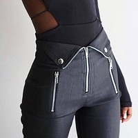 Women's Gothic Grunge Skinny Fit Zipper Pants