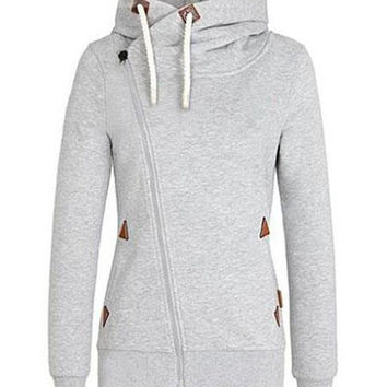 Gray Inclined Zipper Drawstring Hoodie